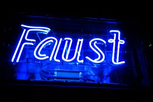 The blue neon sign at Faust.  Photo by Scott ball.