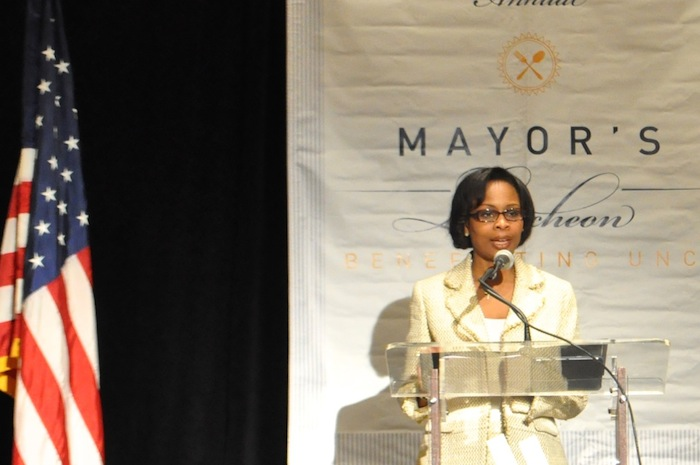 Mayor Ivy Taylor gives the keynote speech at the United Negro College Fund's Mayor's Luncheon. Photo by Iris Dimmick.