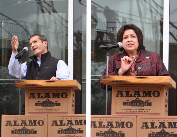 Mayoral candidates Mike Villarreal (left) and Leticia Van de Putte spoke at the Alamo Beer Company brewery ribbon cutting ceremony. Photos by Iris Dimmick.