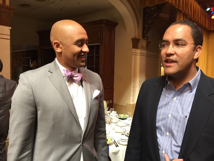U.S. Rep. Will Hurd (right) speaks with Alan Warrick II (D2) during the SouthSA Chamber luncheon. Photo by Robert Rivard.