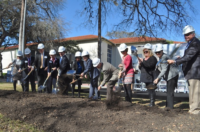 City, County, and private entity representatives break ground to symbolize the beginning of construction on the Witte's Phase II. Photo by Iris Dimmick.