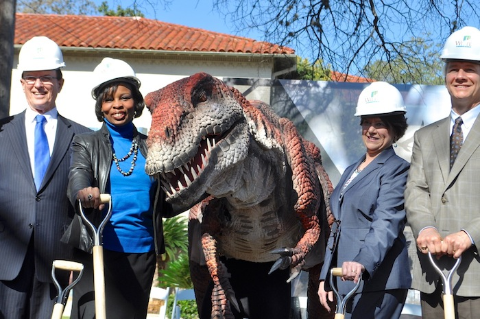 """(From left) Bexar County Judge Nelson Wolff, Mayor Ivy Taylor, Witte President and CEO Marise McDermott, """"Kojo,"""" and Witte capital campaign co-chair Samuel Dawson. Photo by Iris Dimmick."""