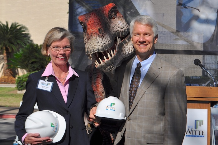 """Witte capital campaign co-chairs Peggy Walker and Samuel Dawson pose for a photo with """"Kojo"""" during the Witte's Phase II ground breaking ceremony. Photo by Iris Dimmick."""
