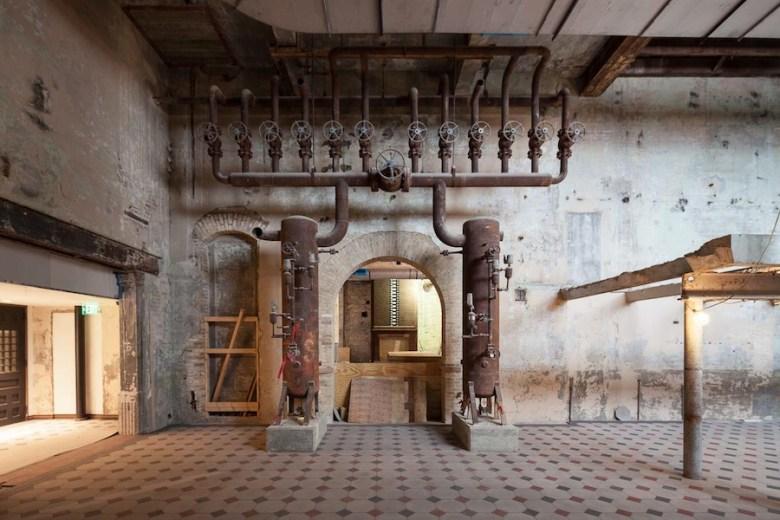 Hotel Emma's lobby retains this ammonia manifold and restored archways. Photo by Scott Martin.
