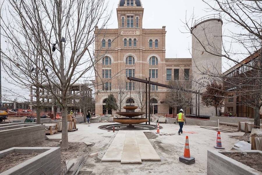 The Culinary Garden at Hotel Emma is being built using variety of salvaged items from the brewery. Photo by Scott Martin.