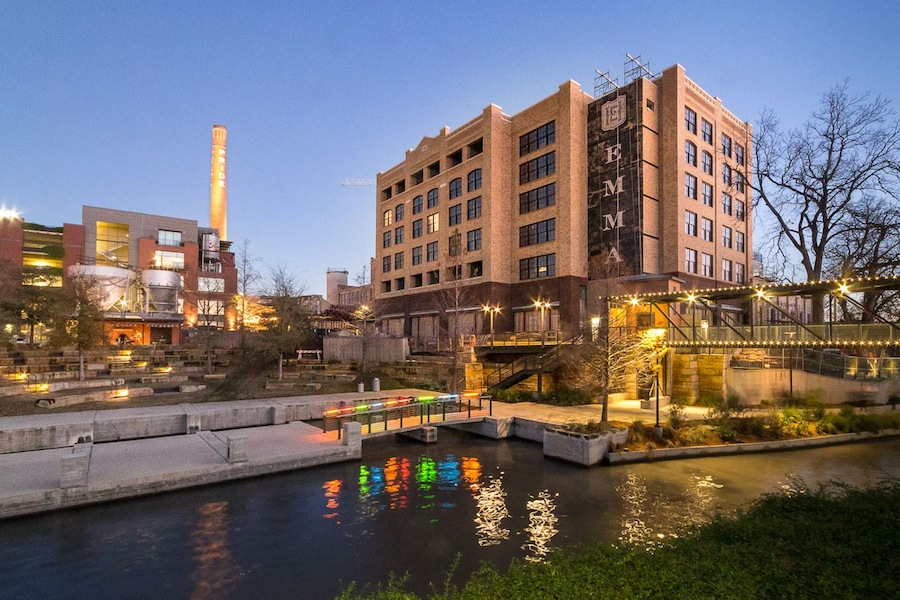 A view of Hotel Emma from the river with the amphitheater. Photo by Scott Martin.