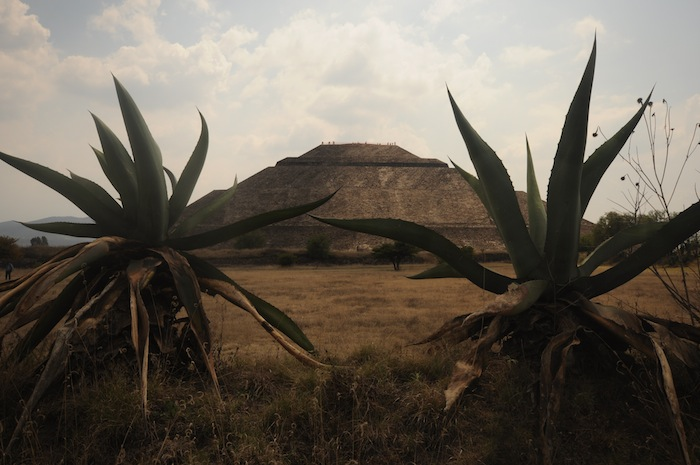 A far-off view of the Pyramid of the Sun at the Teotihuacán ruins. Photo by Everett Redus.