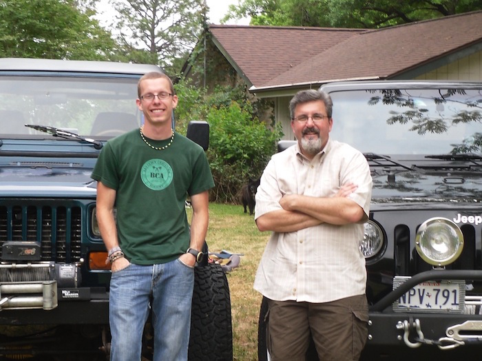 Cameron Redus stands with family friend Mark Hall the day before Cameron sold his beloved jeep. Courtesy photo.