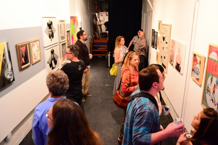 Contemporary Art Month draws a crowd at the Silkworm Gallery. Photo by Page Graham.
