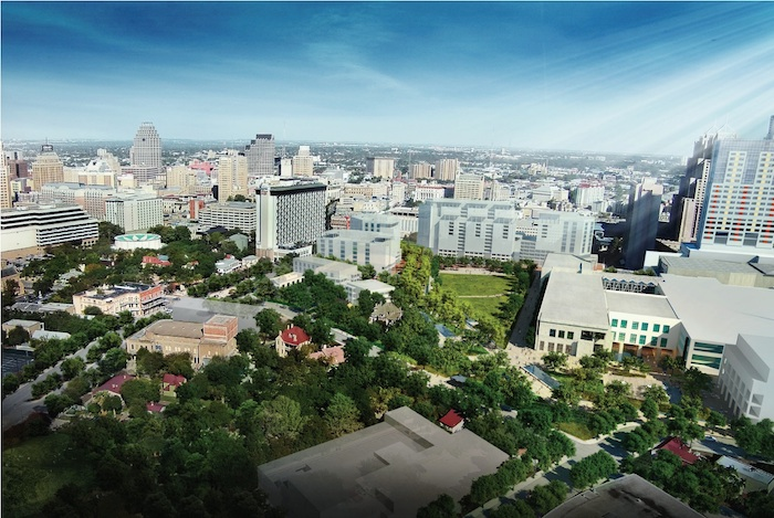 Rendering of the Civic Park looking north, showing an illustration of potential Northwest Quadrant development massing. Image courtesy of Hemisfair.