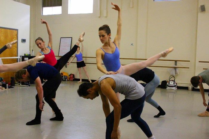 """The Company rehearses Zertuche's """"Arvo."""" Photo by Tami Kegley."""