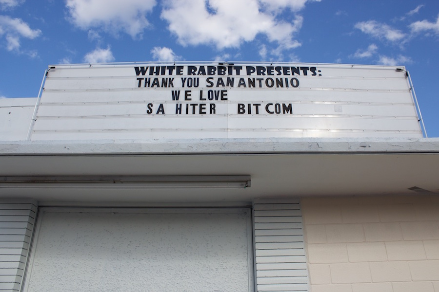 The White Rabbit marquee on March 12, 2015, the day before it was removed. Photo by Hunter Bates.