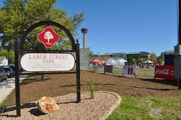 New signage for the Labor Street Park grand opening. Photo by Iris Dimmick.