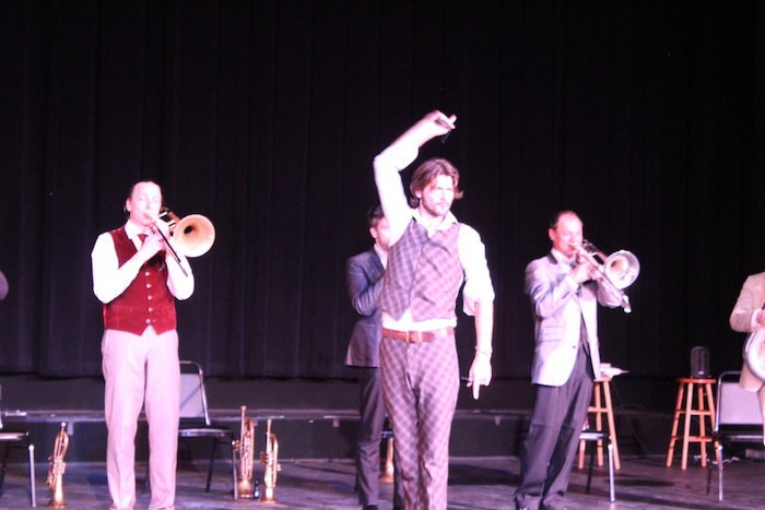 """Roman Rindberger plays the role of """"Latin Lover"""" for the Mnozil Brass band's Spanish sojourn. Photo by Adam Tutor."""