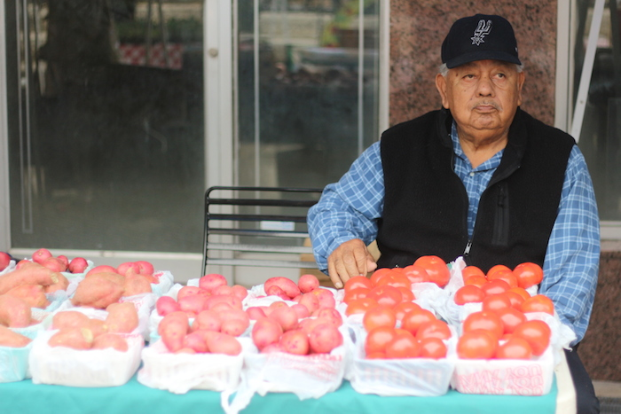 Tuesday marked Mario Rodriguez' fifth season to sell his vegetable at the Main Plaza Farmers Market. Photo by Joan Vinson.