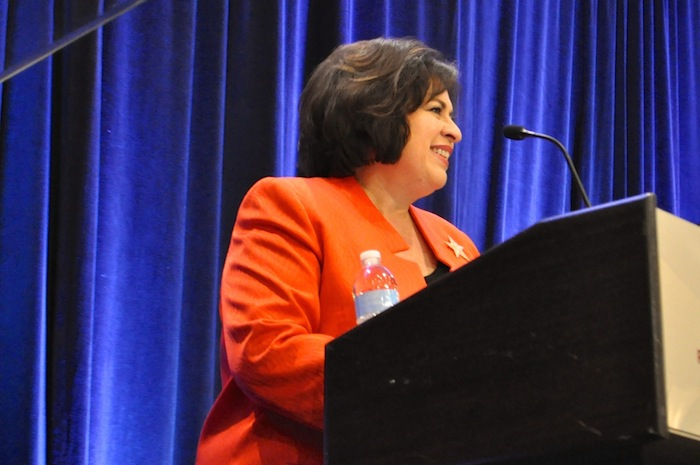Mayoral candidate Leticia Van de Putte speaks at a forum hosted by the hospitality industry. Photo by Iris Dimmick.