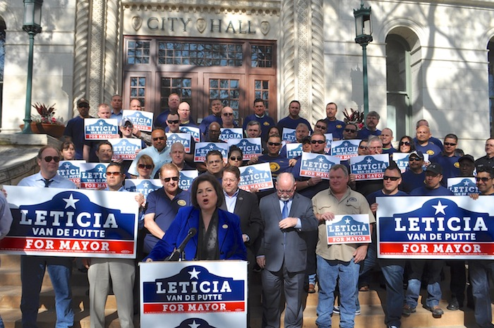 Leticia Van de Putte accepts  the endorsement for her mayoral campaign from the police union on the steps of City Hall on March 24, 2015. Photo by Iris Dimmick.