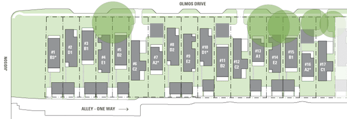 A floor plan of the 26 garden homes on East Olmos Drive. Courtesy image.