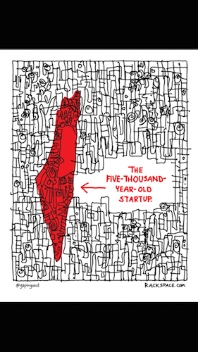 Custom poster we had made for the Israeli market by GapingVoid for Rackspace. Courtesy photo.