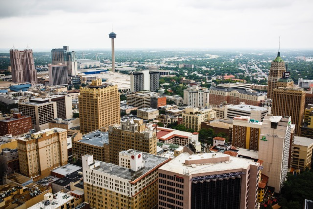 San Antonio's downtown skyline, looking southeast from the top of the Weston Centre. Photo by Kara Gomez.