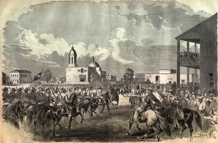 San Antonio Plaza Square Council House Fight. Historical Photo.