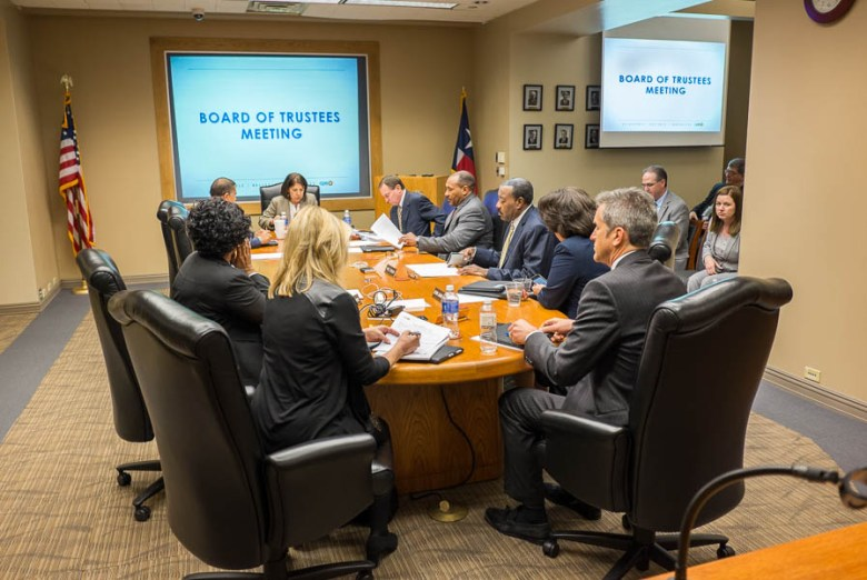 The board at the CPS board of trustees meeting.  Photo by Scott Ball.