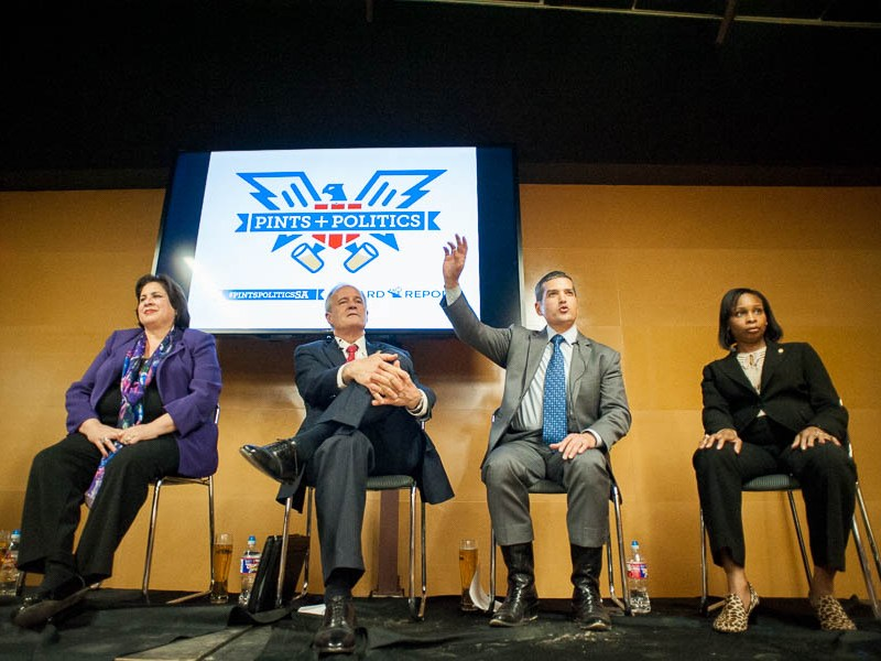 Mayoral candidates on stage during the Pints & Politics mayoral forum at the Alamo Beer brewery. Photo by Scott Ball.