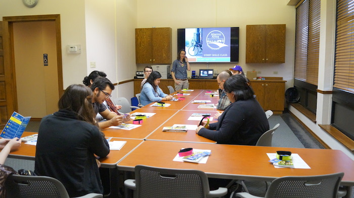 Allison Blazosky teaches Street Skills attendees how to better navigate the road. Photo by Leroy Alloway.