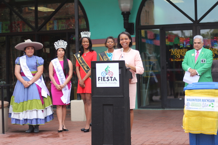 Mayor Ivy Taylor addresses the initiatives San Antonio will implement this year at Fiesta. Photo by Joan Vinson.