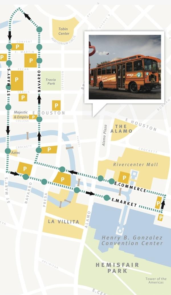 free ride san antonio VIA Metropolitan Transit's new E route is free Tuesday though Saturday evenings.
