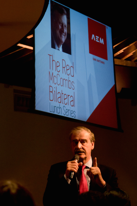 Former President of Mexico Vicente Fox speaks at the Mexican Business Leaders Association luncheon as an EIM Capital board member on March 16, 2014. Photo by Al Rendon.