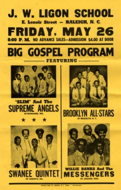 Poster for gospel concert in Raleigh, N.C. May 26, year unknown. From the Black Gospel Music Restoration Project at Baylor University. Courtesy image.