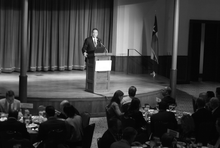 Henry Cisneros spoke about his new book at a luncheon at the Pearl Stable on Wednesday. Photo by Joan Vinson.