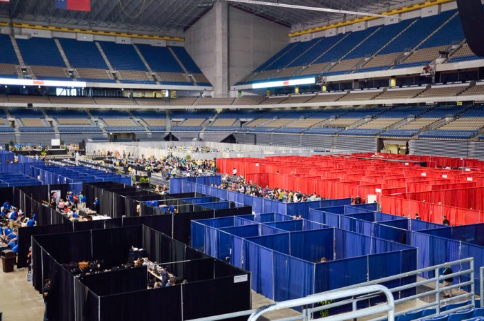 The Alamodome is transformed into a giant clinic. Photo by Cherise Rohr-Allegrini.