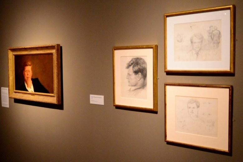"""""""Portrait of John F. Kennedy"""" shown with artist's sketches of Robert and Teddy Kennedy, 1967. Photo by Page Graham."""