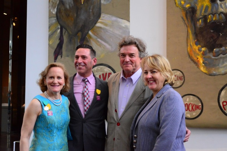 Elliot Bostwick, William Keyse Rudolph, Jamie Wyeth and Katie Luber celebrate the retrospective opening at SAMA. Photo by Page Graham.