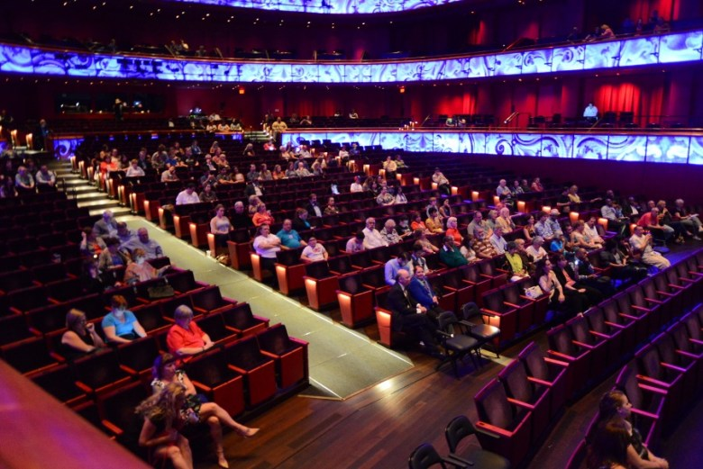 About 200 people attended the Change the Vote mayoral forum at The Tobin Center. Photo by Page Graham.