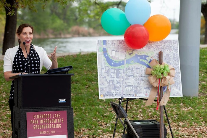 Councilmember Shirley Gonzales speaks at the groundbreaking ceremony for the Elmendorf Lake Park redevelopment, part of the Westside Creek Restoration Project. Photo by Sean Encino.