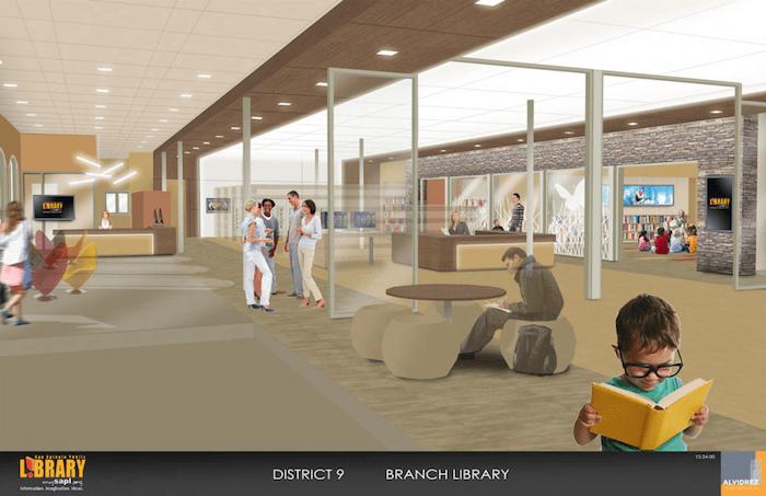 A mock up of the interior of San Antonio Public Library's Encino Branch. Courtesy of SAPL.
