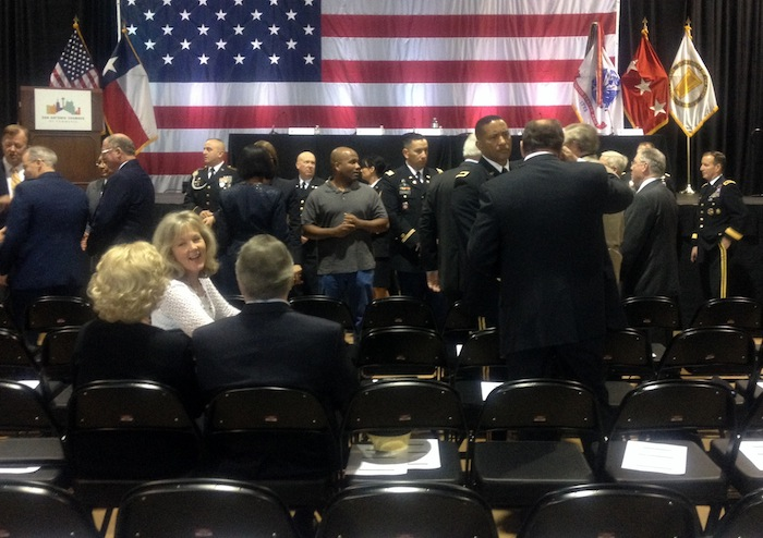 """About 1,200 people attended the Army's """"listening session."""" Photo by Lily Casura."""