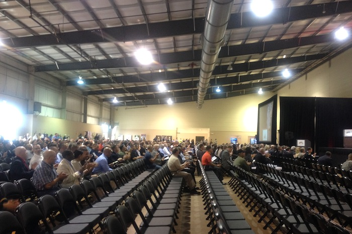 """Audience members before the Army's """"listening session"""" begins. Photo by Lily Casura."""