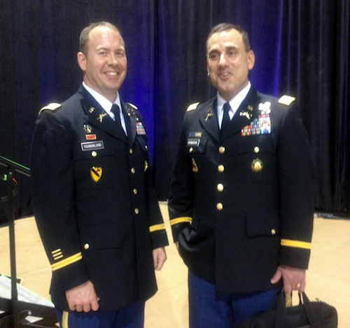 Army Lt. Col. David Youngblood (left) and Army Col. Tom O'Donoghue. Photo by Lily Casura.