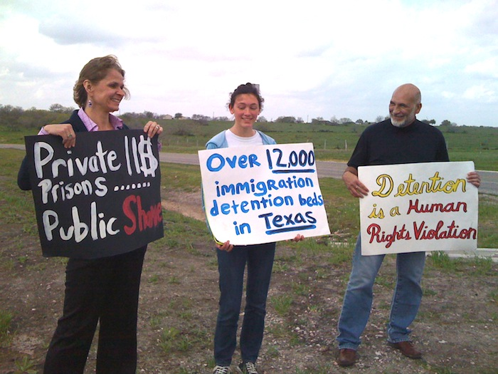Protesters outside Karnes County Civil Detention Center on opening day, 2012. Photo by Lily Casura.
