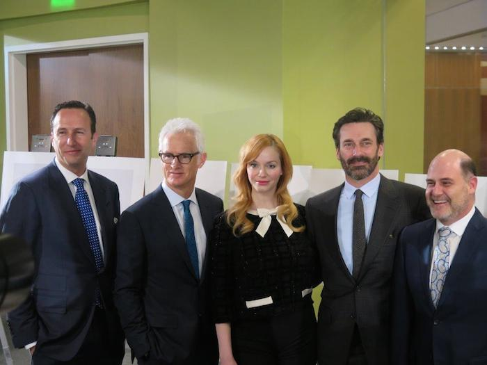 "(From left) AMC President Charlie Collier, John Slattery, Christina Hendricks, Jon Hamm, and ""Mad Men"" creator Matthew Weiner. Photo courtesy of Creative Civilization."