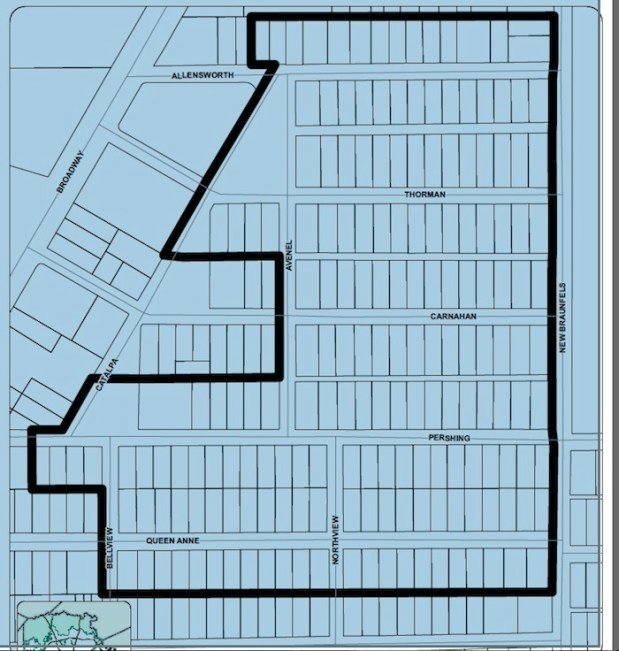 This map outlines new proposed boundary for a historic district for Mahncke Park, as submitted by residential petitioners. Courtesy image.