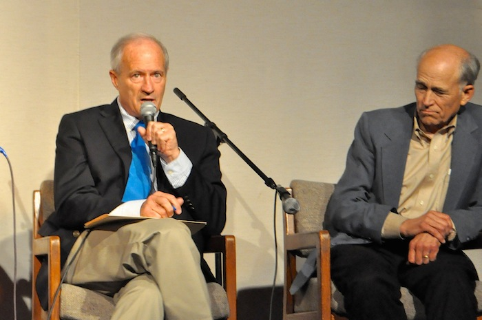 Mayoral candidates Tommy Adkisson (left) and Rhett Rosenquest Smith during the Esperanza Peace & Justice Center's mayoral forum. Photo by Iris Dimmick.