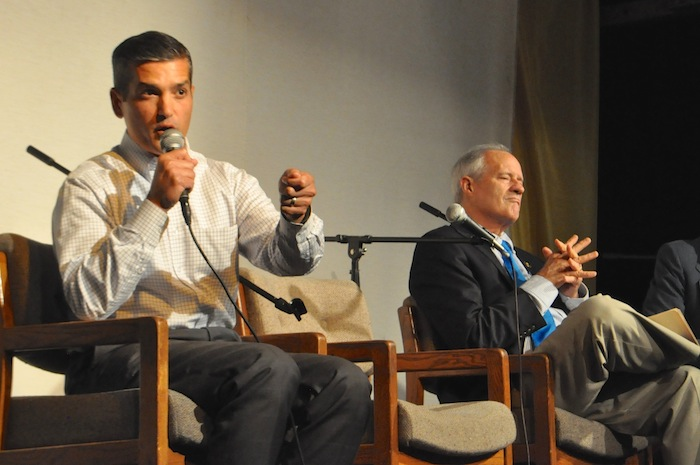 Mayoral candidate Mike Villarreal answers a question during the Esperanza Peace & Justice Center's mayoral forum. Photo by Iris Dimmick.
