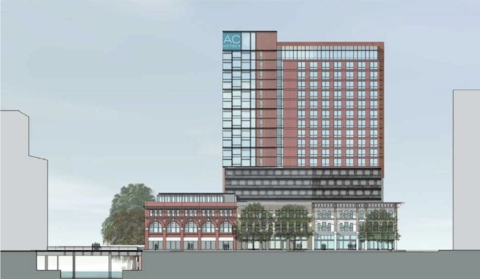 North elevation view of the proposed hotel on Soledad Street. Rendering courtesy of Overland Partners.