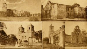 A collage of mission illustrations, circa 1909. Collage by Lily Casura