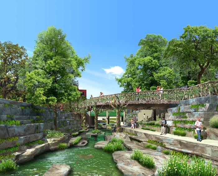 """El Merodeo"" stretch of San Pedro Creek Improvements Project. Rendering courtesy of Muñoz & Company."
